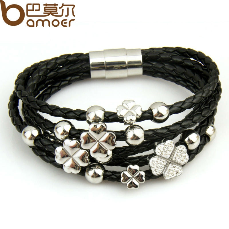 Leather Wrap Bracelet Leaf Clover Flower Crystal Bangles PI0693