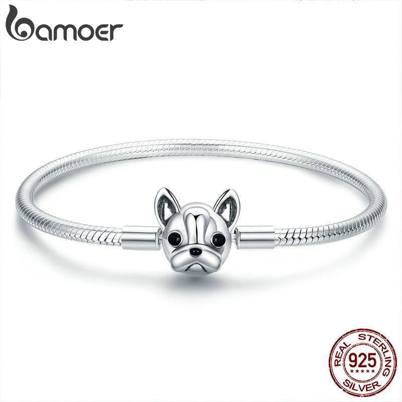 BAMOER 100% Genuine 925 Sterling Silver French Bulldog Doggy Snake Chain Women Bracelet & Bangles Silver Jewelry 17-19CM SCB075