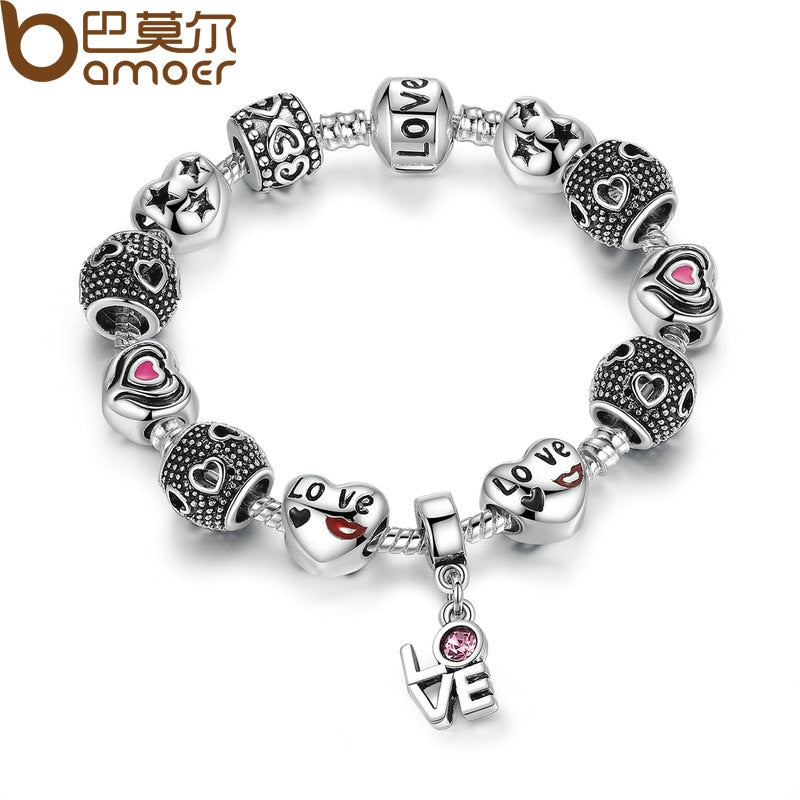 BAMOER Silver Color European Pink Charm Bracelets for Women DIY Jewelry Bracelets & Bangles Pulseras PA1488