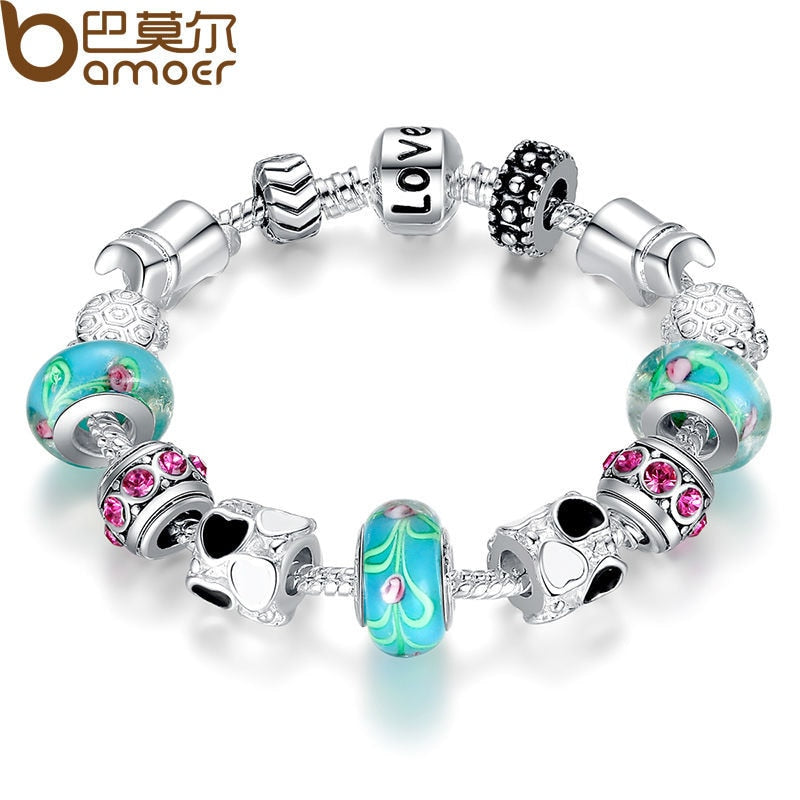 Ladies Silver Charm Bangle Bracelet with Murano Beads PA1019