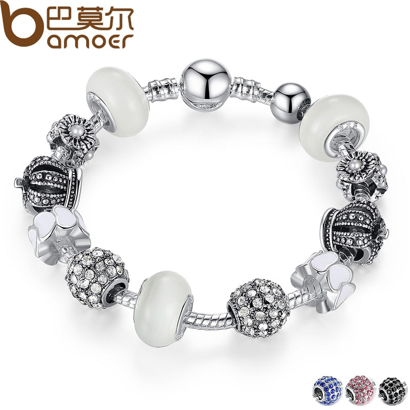 BAMOER Silver Charm Bracelet & Bangle with Royal Crown Charm and Crystal Ball White BeadsDrop Shipping PA1456