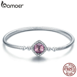 BAMOER Authentic 100% 925 Sterling Silver Pink AAA Cubic Zircon Charm Strand Bracelets SCB052