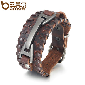 BAMOER Vintage Punk Leather Bracelet 2 Color Black & Brown Fashion Clasp Multilayer Braid Rope Bracelet PI0339-1