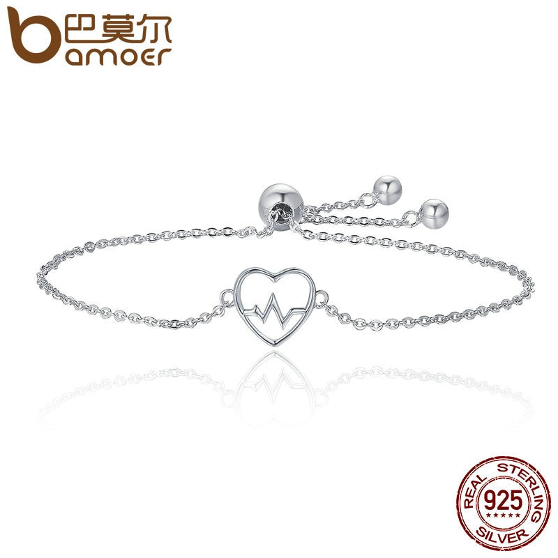 BAMOER  100% 925 Sterling Silver ECG Of Love & Sweetheart Heart Bracelet SCB019