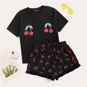 SHEIN Black Cute Cherry Print Tee And Ruffle Hem Shorts