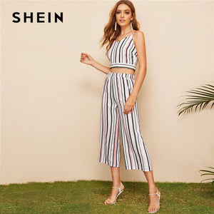 SHEIN Multicolor Back Striped Cami Crop Top And Pants