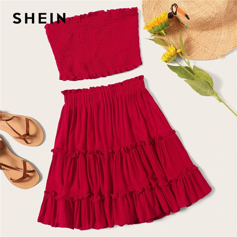 SHEIN Burgundy Smocked Bandeau Top And Layered Frill Hem Skirt Set