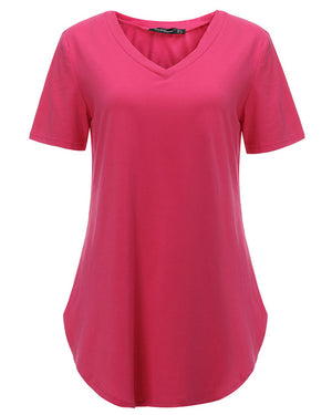 Ladies Loose Short Sleeve V Neck Tee Shirt  S-5XL