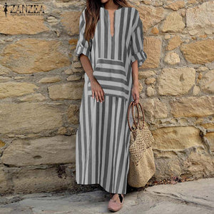 ZANZEA Plus Size Striped Casual Maxi Dress with Long Sleeves