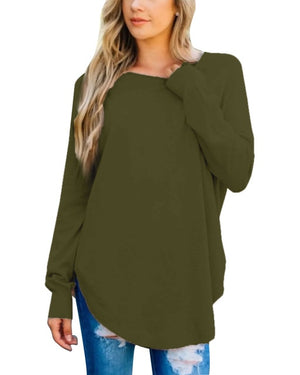 ZANZEA Ladies Solid Color Tee Shirt with Long Sleeves  Size 2XL