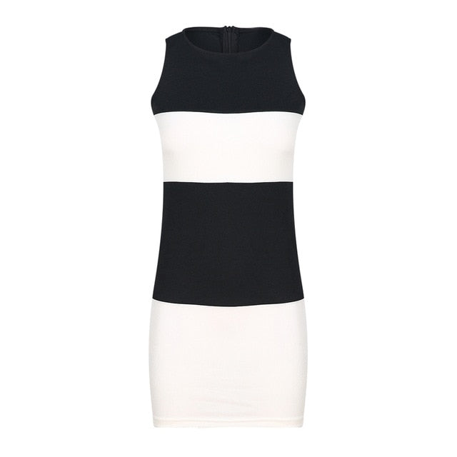 HEE GRAND Black and White Patchwork Sleeveless Dress in Slim WQL5543