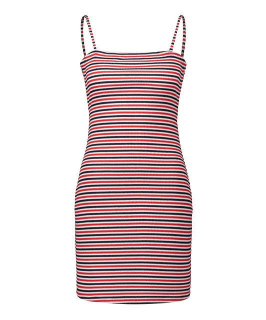 HEE GRAND Summer Striped Sleeveless Pencil Dress WQD928