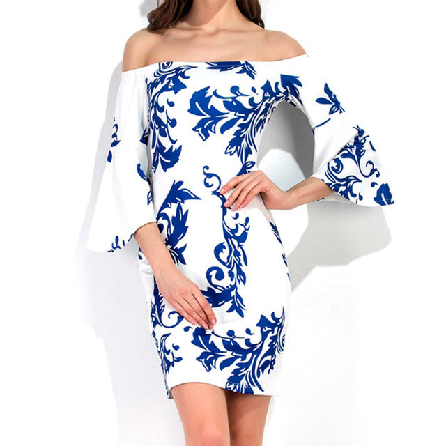 HEE GRAND Ladies and Teens Off The Shoulder Slim Dress with Three Quarter Sleeves WQS2170