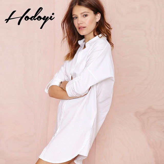 Ladies Long Shirt Casual White Pajama Shirt