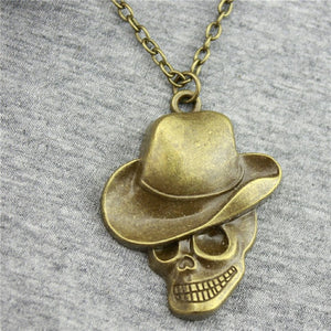 WYSIWYG 44x35mm Hat Skull Pendant Necklace,