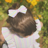 Vintage Pastel Rainbow seersucker hand tied bow baby kids toddler on nylon headband or clip pigtails hair pink blue mint yellow stripe