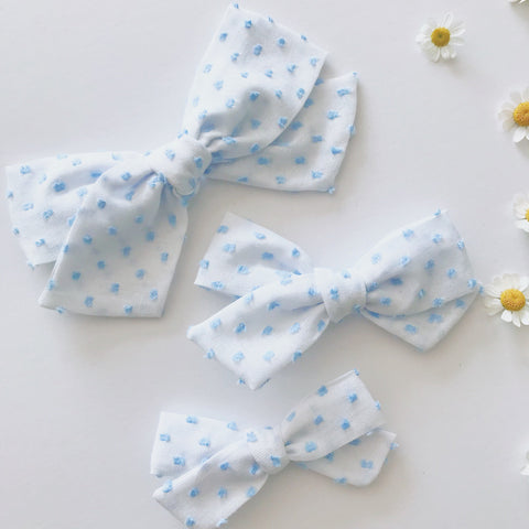 Pastel blue swiss dots clip dots hand tied bow baby kids toddler on nylon headband or clip pigtails vintage swiss dots hair baby blue white