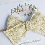 Cream crochet lace bow medium size on nylon headband or clip newborn infant toddler kids white boho cotton organic kids vintage style