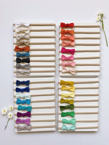You pick 3! Set of 3 organic cotton new baby bow headbands or mini clips