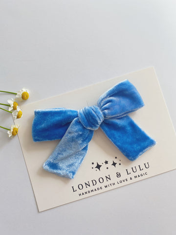Cornflower silk velvet bows