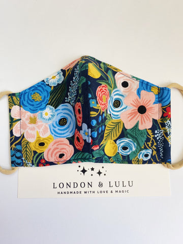 Rifle paper co garden party Navy face masks