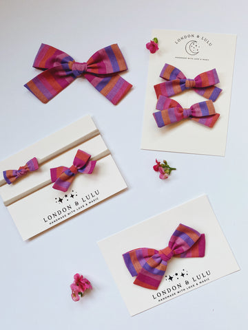 Vintage pink rainbow woven stripe bows