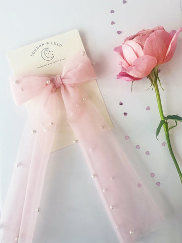 Tulle + Pearl Storybook bow in Blush Pink