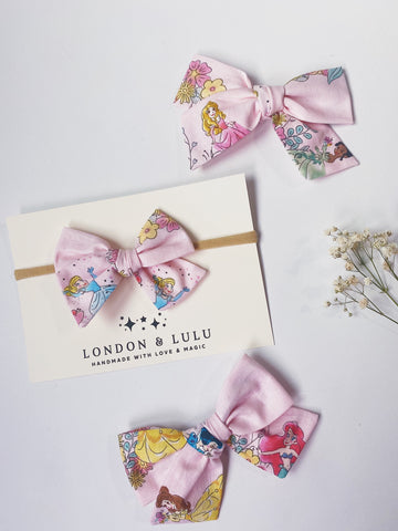 Pink princess & floral cotton twirl bows