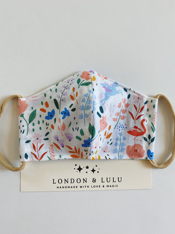 Watercolor floral & animals Face mask