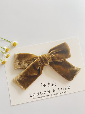 Ginger silk velvet bows