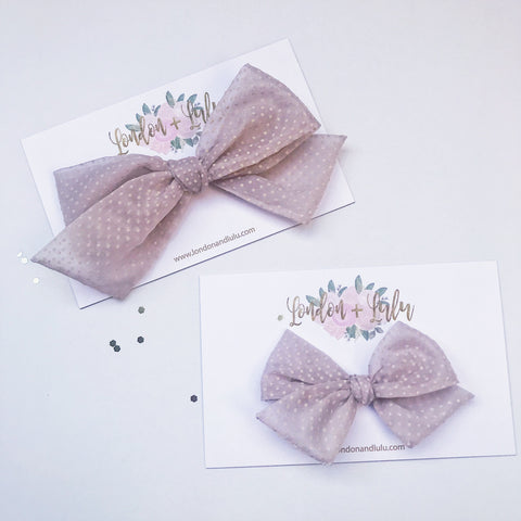 Vintage Sheer Dusty Lilac flocked bow