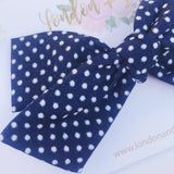 Vintage Navy blue and white Swiss dots bow