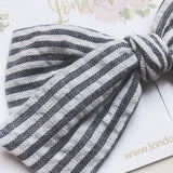 Black and white seersucker bows