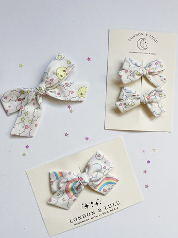 Vintage rainbows, hearts & stars bows