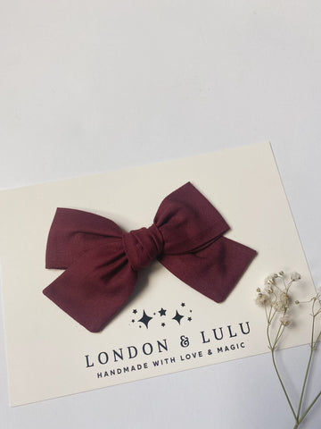 Merlot solid cotton bows