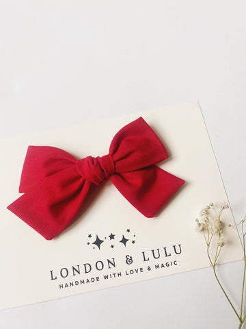 Candy apple red solid cotton bows