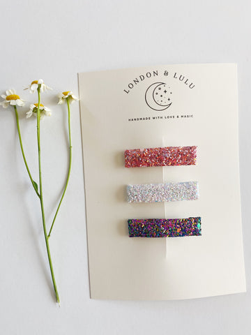 Chunky sparkle bar clip set