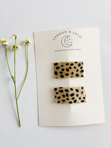 Cheetah faux fur snap clip set