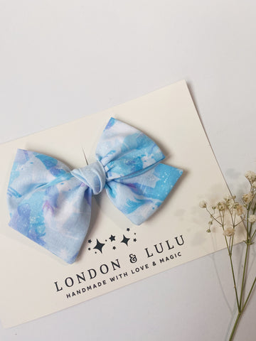 Unicorn watercolor cotton twirl bows