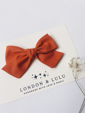 Burnt Orange solid cotton bows