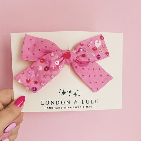 Pink dot Valentine's Twinkle bows