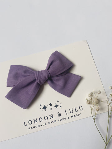 Dusty Plum solid cotton bows