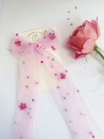 Tulle + Pearl Storybook bow in Candy Pink