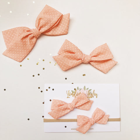 Vintage Baby Peach Swiss dots bow