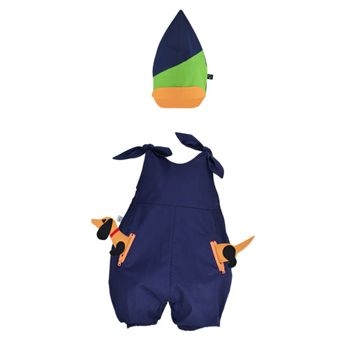 BUNGO SET - Overall with Animal toy and Pixie hat