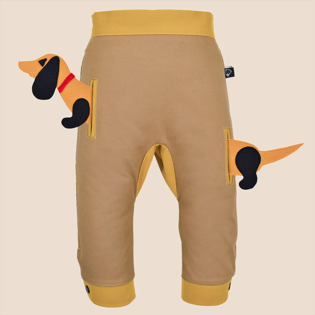 POCKET SET - Trousers duo colori with ANIMAL Toy - Beige beige baby