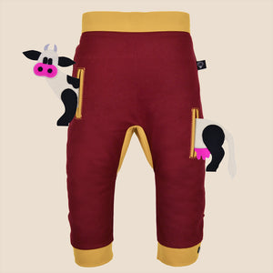POCKET SET - Trousers duo colori with ANIMAL Toy - Bordeaux love