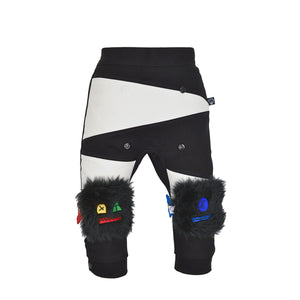MONSTER set - Black & white trousers with bottom / knee pads