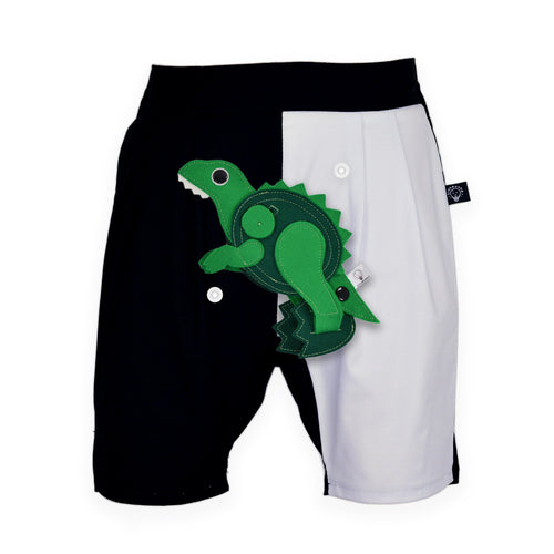 DINO SET - Black & white short pants with DINO Toy