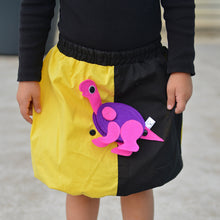 Load image into Gallery viewer, DINO SET - Yellow & Black skirt with DINO Toy